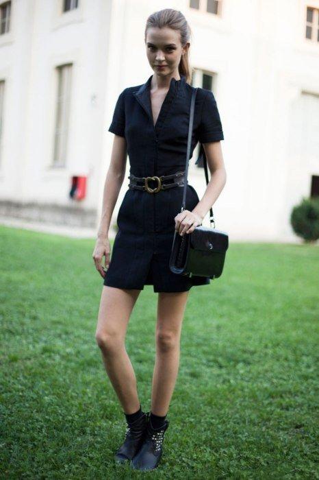 платье Trussardi. Уличная мода 2014, Милан