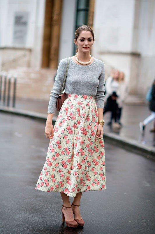 София Санчес на неделе моды в Париже весна/лето 2015, в макси-юбке