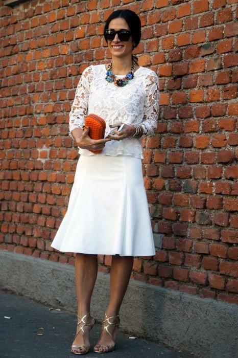 юбка, блуза от Fendi. Уличная мода 2014, Милан