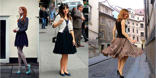 Юбку-колокол невысоким девушкам всегда стоит сочетать с высокими каблуками или обувью на платформе