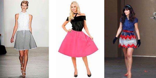 Надевать юбку-колокол рекомендуют с классическим верхом. Подойдут джемпера, оригинальные топы или яркие блузы