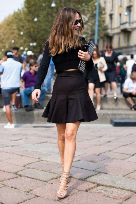 юбка, кофта Roberto Cavalli. Уличная мода 2014, Милан