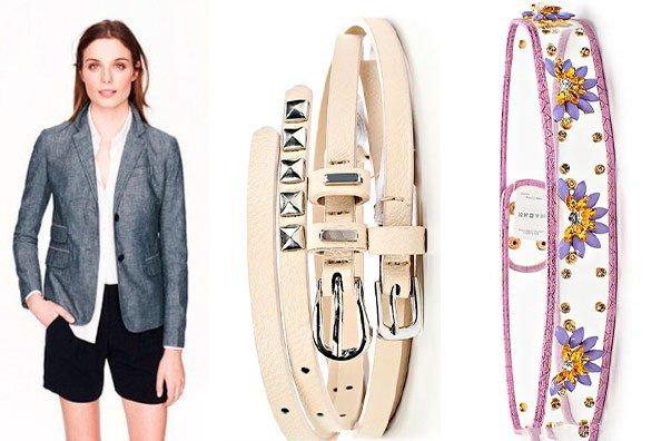 стильный пиджак, модный ремень пастельных тонов и цветочный ремень
