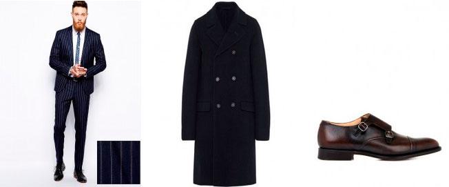 Лук из костюма в полоску и пальто