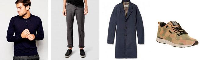 Лук - поло, плащь, серые брюки и кроссовки с камуфляжным принтом