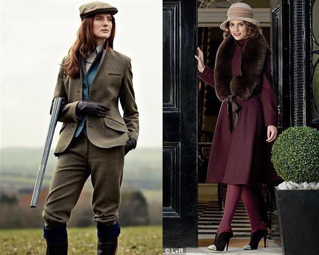 Модель в костюме для скачек и кеппи, модель в ботильонах, бордовом пальто с меховым воротником и бежевой шляпке
