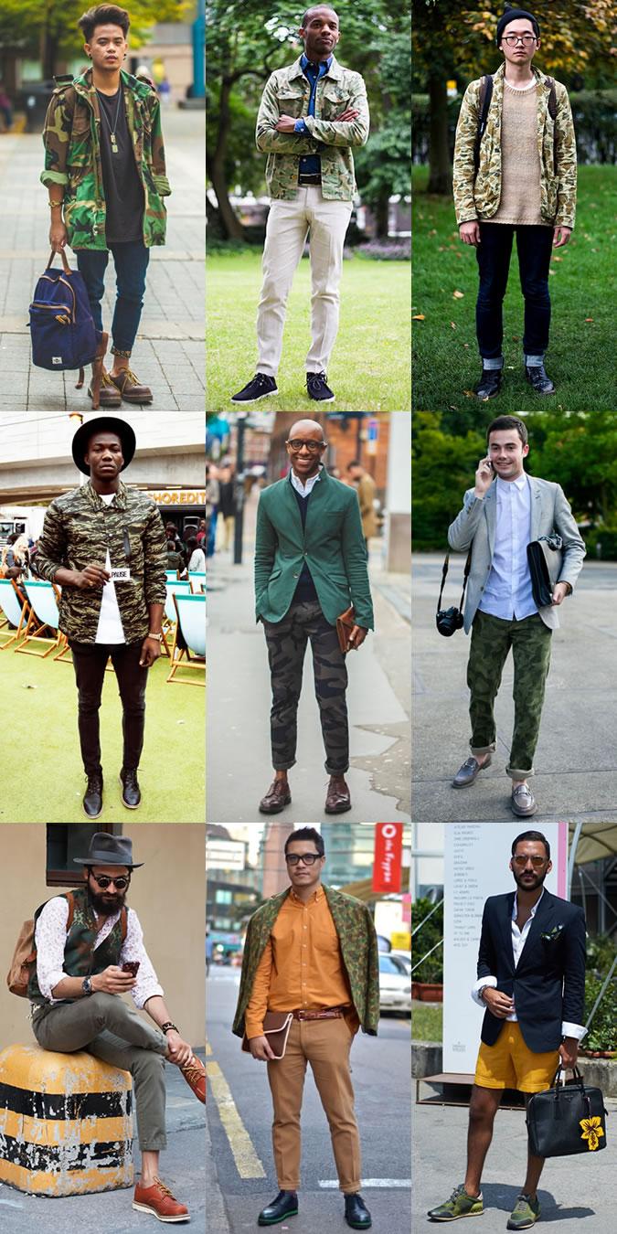 Мужчины в одежде в стиле милитари на улице