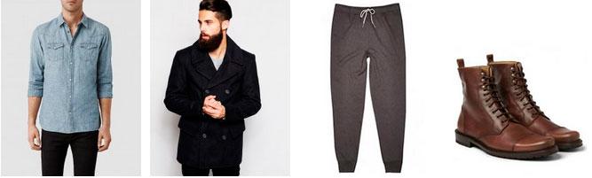 Мужской лук из джинсовой рубашки, пальто и ботинок