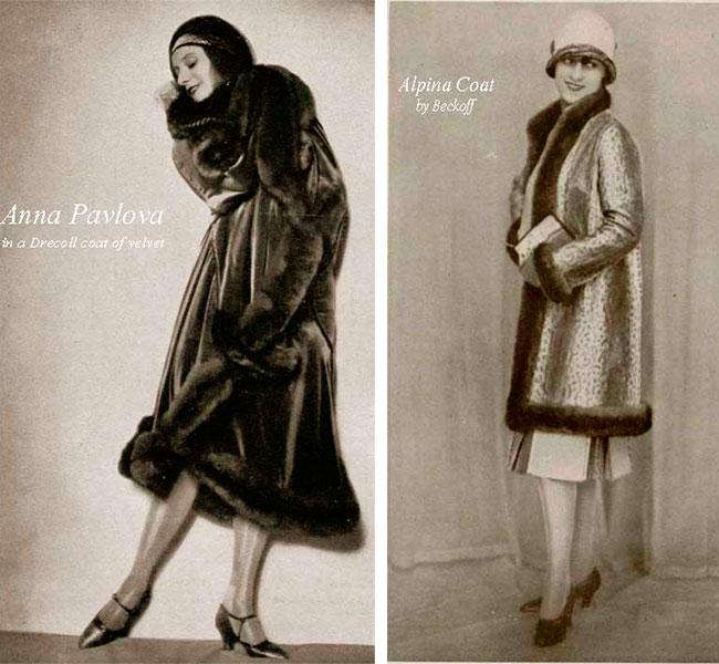 Анна Павлова и девушка в зимних пальто 1927 год