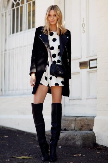 Девушка в высоких сапогах и черном, коротком пальто