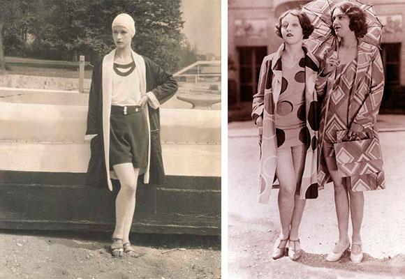 Девушки в модных купальниках 1927-1928 годов
