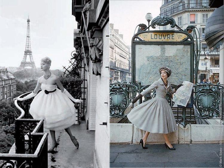 Французский шик, модели в изысканных платьях с пышными юбками