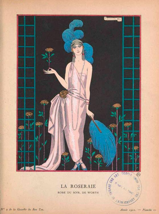 Иллюстрация Жорж Барбье девушка в платье 1922 год