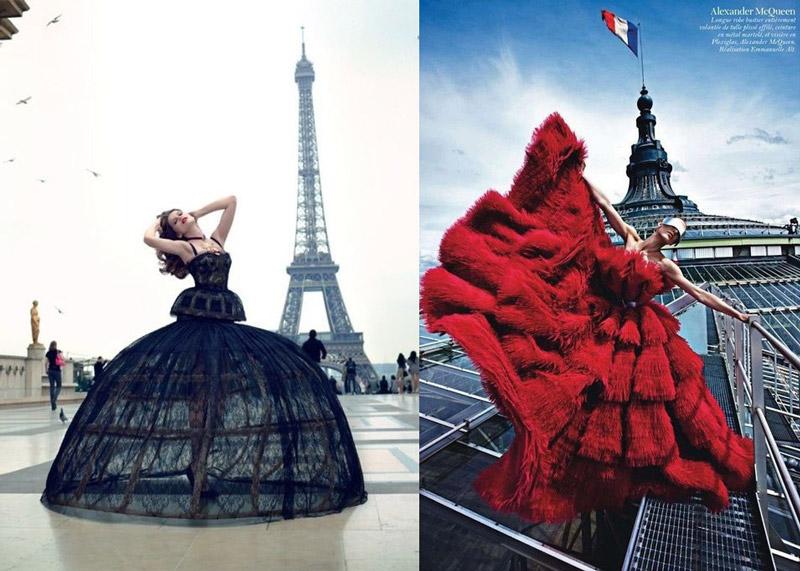 Модели в шикарных платьях черного и красного цвета, французский шик