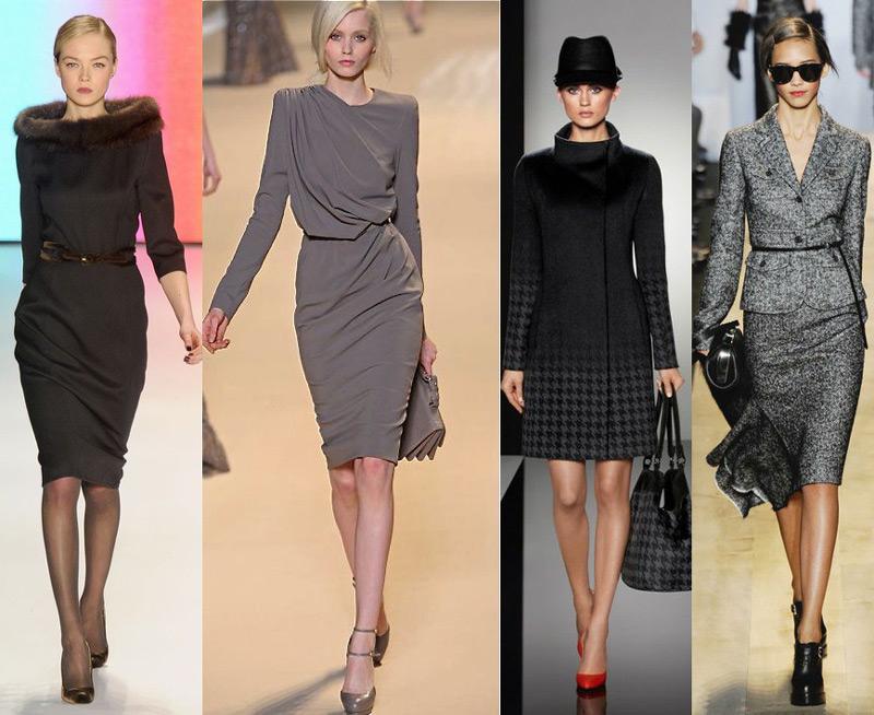 Образы моделей в классическом стиле в серых тонах