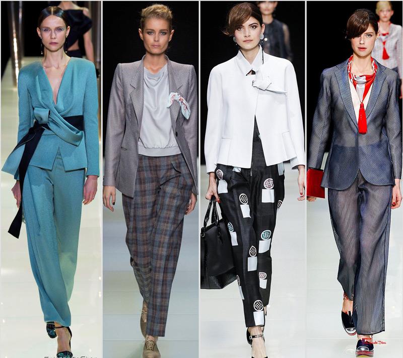 Образы моделей в широких брюках и жакетах