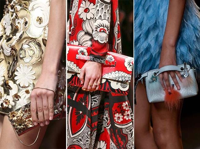 элегантные клатчи и кошельки с цветочным принтом, тенденции сумок весна-лето 2015