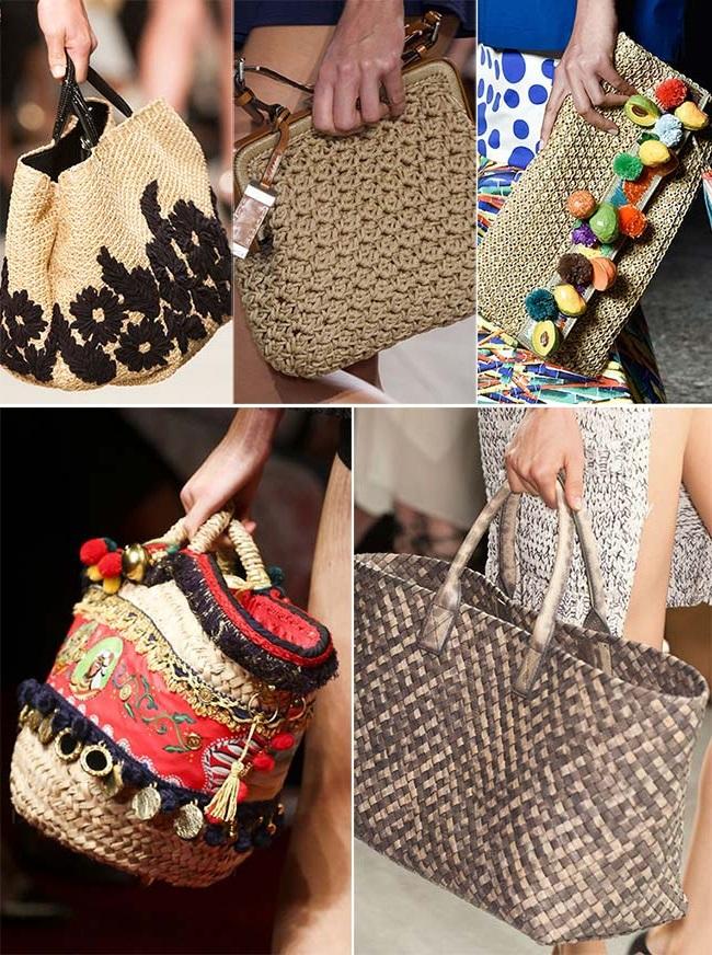 плетеные и соломенные сумки, тенденции сумок весна-лето 2015