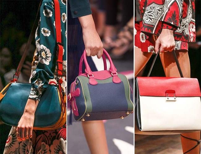 разноцветные сумки, тенденции сумок весна-лето 2015