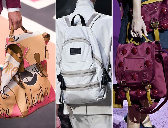 современные рюкзаки - бордовый и белый, тенденции сумок весна-лето 2015