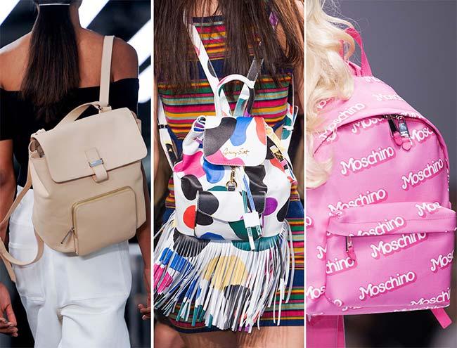 современные рюкзаки - розовый и с бахромой, тенденции сумок весна-лето 2015