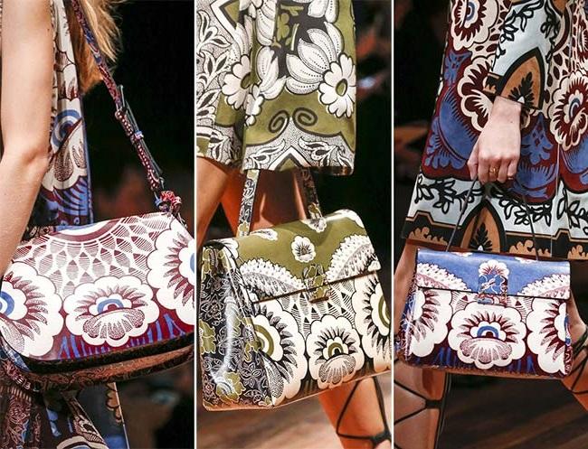 сумки с принтами цветов, тенденции сумок весна-лето 2015