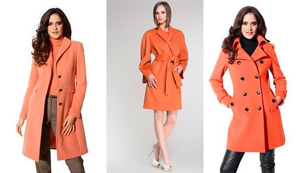 Девушки в пальто кораллового цвета