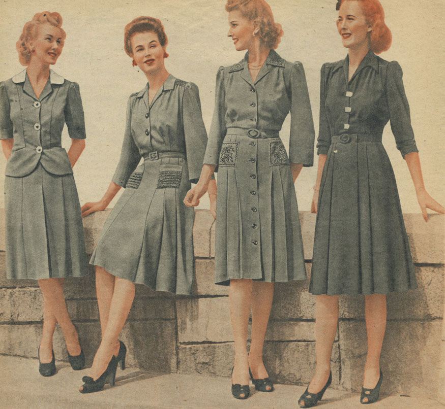 Девушки в платьях, послевоенные годы, 1940-е