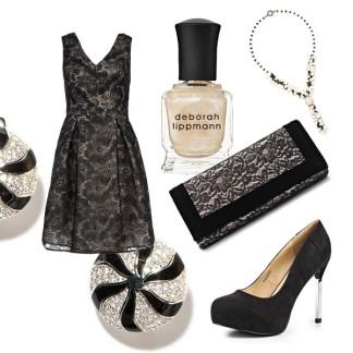 Нарядный лук, черное платье с узорами