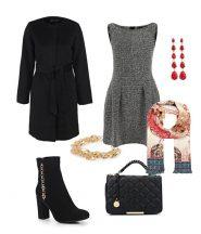 Офисный лук, черное пальто, сумка, полусапоги