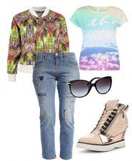 лук для прогулок с рваными джинсами, легкой ветровкой и кедами на платформе
