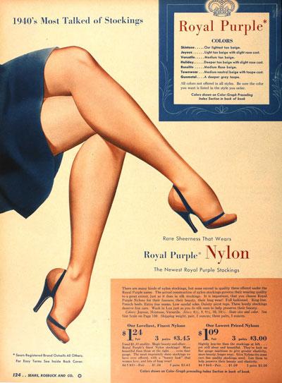 ноги в нейлоновых чулках 1940-е