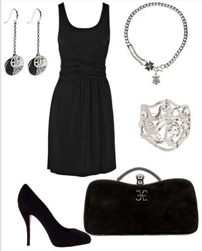Черные туфли на высоком каблуке + утонченные сережки= идеальный вечерний образ