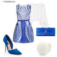 Нарядный лук, синее платье с белыми узорами