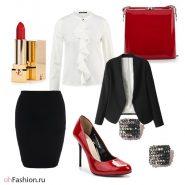 Офисный лук. Белая блуза, черная юбка карандаш и пиджак