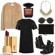 Вечерний лук. Черное платье с кожаными вставками и шуба