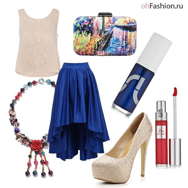 Ассиметричная синяя юбка