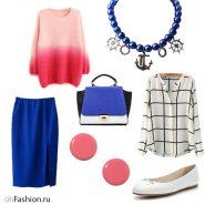синяя юбка клетчатая блуза