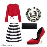 яркий лук, полосатая юбка, красный топ