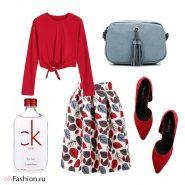 яркий лук, разноцветная юбка, красная блуза