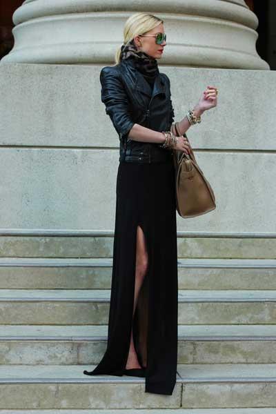 Девушка в черном платье и косухе