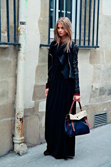 Длинные платье под кожаную куртку