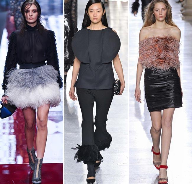 Девушки в нарядах с элементами из перьев - тенденции моды сезона осень/зима 2015-2016