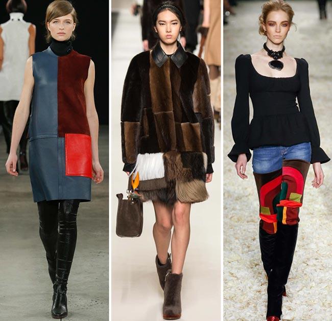 Девушки в одежде, стилизованной под пэчворк - тенденции моды сезона осень/зима 2015-2016