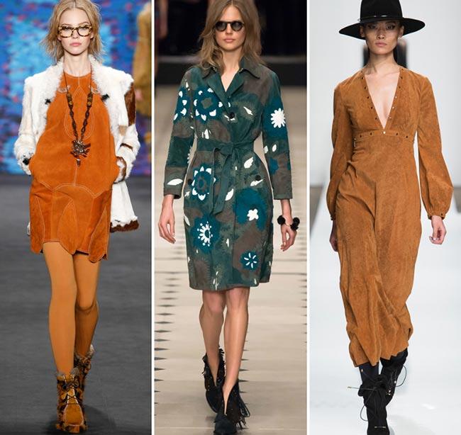 Девушки в платьях из замши - тенденции моды сезона осень/зима 2015-2016