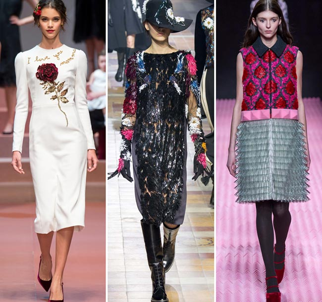Девушки в платьях с 3D декором - тенденции моды сезона осень/зима 2015-2016
