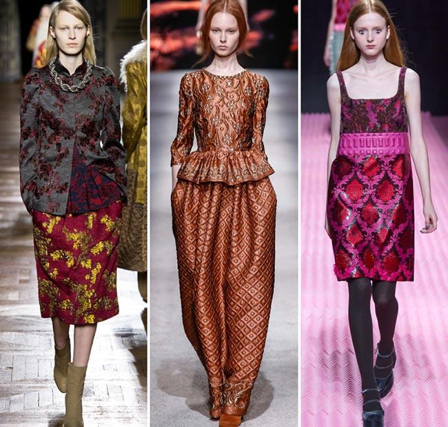 Девушки в роскошных платьях из парчи - тенденции моды сезона осень/зима 2015-2016