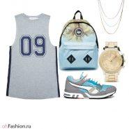 Летний лук. Платье кроссовки и рюкзак