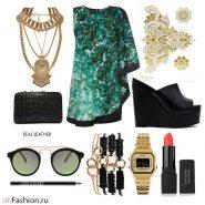Летний лук. Платье с принтом босоножки часы и очки