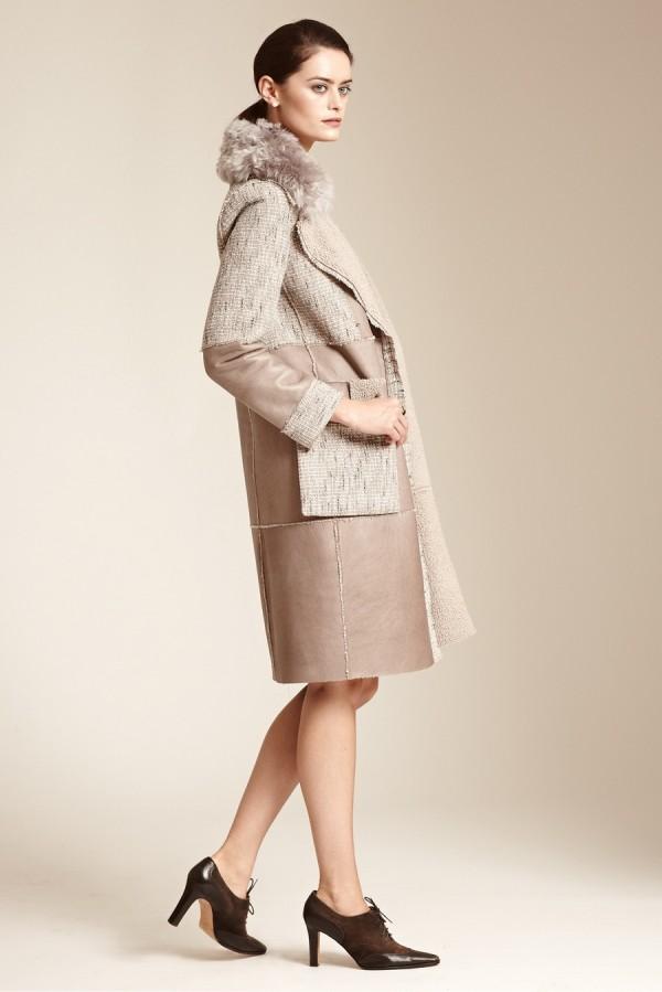 Разно-текстурное пальто - тенденции моды осень/зима 2015/2016